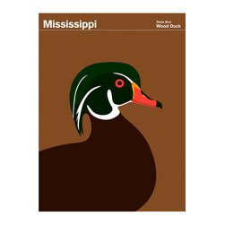 Mississippi Wood Duck Print - The wood duck gathers most of its food of insects, snails, mollusks, plants, seeds, nuts, and berries, from the forested wetland habitat it prefers. Unlike many ducks, the female nests in tree holes and will perch in trees. {via NPS}Print Collection has commissioned artist Julian Montague to create round one of our State of America series. These bright, bold, graphic images iconicize the quirky Official State Insignias from around the nation. Red States and Blue States may now be a thing of the past.