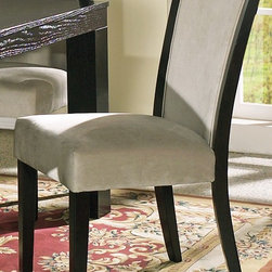 Steve Silver Co. - Movado Velvet Upholstered Parsons Chair - Set - Velvet upholstery. Multi-step Deep Merlot finish. Contemporary style. Corner block construction. Tongue and groove joints. Select hardwood solids material. Some assembly required. 18 in. seat height. 18 in. L x 25 in. W x 38 in. H