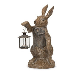 """IMAX - Mr. Rabbit Candle Lantern - Mr. rabbit selflessly lights any room with his petite lantern candleholder for tealight candles. His pleasant demeanor and adorable character are a traditional accessory for any home. Item Dimensions: (18.75""""h x 8.75""""w x 11.75"""")"""