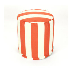 Majestic Home - Outdoor Burnt Orange Vertical Stripe Small Pouf - Add comfort and flare to any room with Majestic Home Goods Indoor/Outdoor Small Pouf Ottomans. These small poufs can be used as a foot stool, side table or as extra seating in your home or backyard. The beanbag inserts are eco-friendly by using up to 50% recycled polystyrene beads. The removable zippered slipcovers are woven from Outdoor Treated polyester with up to 1000 hours of U.V. protection, and are machine-washable.