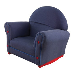 KidKraft - Upholstered Rocker, Denim Fabric by Kidkraft - This Denim Rocker is just like mom and dad's furniture only kid-sized. With padded, thick cushioning our rocker is a comfy place for kids to read stories, play let's pretend, or just relax.