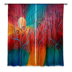 "DiaNoche Designs - Window Curtains Lined by Tara Viswanathan Peacock Inspiration II - Purchasing window curtains just got easier and better! Create a designer look to any of your living spaces with our decorative and unique ""Lined Window Curtains."" Perfect for the living room, dining room or bedroom, these artistic curtains are an easy and inexpensive way to add color and style when decorating your home.  This is a woven poly material that filters outside light and creates a privacy barrier.  Each package includes two easy-to-hang, 3 inch diameter pole-pocket curtain panels.  The width listed is the total measurement of the two panels.  Curtain rod sold separately. Easy care, machine wash cold, tumble dry low, iron low if needed.  Printed in the USA."