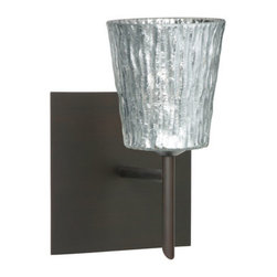 Besa Lighting - Besa Lighting 1SW-5125SF-SQ Nico 1 Light Halogen Bathroom Sconce - Nico 4 features a tapered drum shape that fits beautifully in transitional spaces. Our Stone Silver Foil glass is a clear blown glass with an outer texture of coarse sandstone, with distressed metal foil hand applied to the inside. Inspired by the elements of nature, the appearance of the surface resembles the beautiful cut patterning of a rock formation. This blown glass is handcrafted by a skilled artisan, utilizing century old techniques that have been passed down from generation to generation. Each piece of this decor has its own artistic nature that can be individually appreciated. The mini sconce is equipped with a decorative lamp holder mounted to either a low profile round or square canopy.Features: