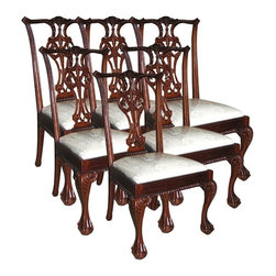 EuroLux Home - 6 New Side Chairs Mahogany Carved Back - Product Details