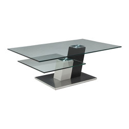"""Pastel Furniture - Pastel Kaffina Rectangular Glass Coffee Table in Stainless Steel & Wenge Wood - The Kachina coffee table is a simple yet elegant design that can add that stylish and modern flair to your living area. This coffee table is made with stainless steel and wenge wood with a 30"""" x 40"""" rectangular glass top."""