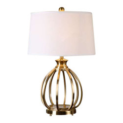Uttermost Decimus Brass Lamp - Curved metal base finished in a plated brushed brass. Curved metal base finished in a plated brushed brass. The tapered round hardback shade is a crisp white linen fabric.