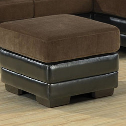 Monarch Specialties - Square 2-Tone Ottoman - Plush cushion and a dark brown leatherette base. Tapered legs. Chocolate finish. 23.5 in. L x 23.5 in. W x 18 in. H (19 lbs.)Lustrous in fashion and very comfortable, this two tone ottoman is the perfect addition to your living room, bedroom or any space in need of contemporary style.