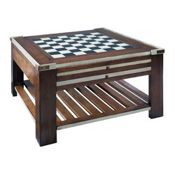 "Ivory Game Table - The Ivory Game Table measures 31.5""L x 31.5""W x 17.75""H. Bring out the laughter, drama and drink. Go for check or broke. If loaded dice and backgammon are more to your taste, change the board. Or unearth the boxed renaissance dominos and pull out the green board, domino, poker, Monopoly. When not in the mood for games, flip the board and go for cherry wood top or classic leather. A world of entertainment at your fingertips. Park rule books and cartons on the lower level. This table features a combination of American cherry and birch woods accented with solid brass hardware. The wood is slightly distressed, buffed and waxed with a French finish. It features three slide out panels and offers six different choices of table tops: chess, checkers dice(green), backgammon, leather, and wood. This item is also available in red(AU-MF006)."