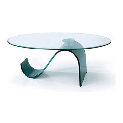 "Beverly Hills Furniture Inc. - Coffee Table with S-Shaped Black Curved Glass Base - Unique Coffee Table with S-Shaped Black Curved Glass Base features clear, tempered glass top supported by ""S"" shape tinted glass base. This modern construction design seems to be very fragile, but it is very sturdy and durable that will serve you for a long time."