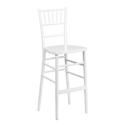 Flash Furniture - Flash Furniture Flash Elegance White Wood Chiavari Barstool - SZ-WHITE-BAR-GG - Chiavari Bar Stools are becoming wildly popular as more bar height tables are being introduced in the event world. Coordinate your Chiavari chairs with this attractive wood Chiavari bar stool. Keep your guests comfortable with optional hard and soft cushions. [SZ-WHITE-BAR-GG]