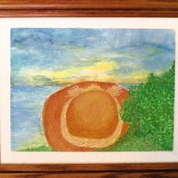 """Balance (Original) by Debra Purcell - Meditation at sunset on  Mentor Headlands Beach, Lake Erie, Ohio.  This is also one of my very FIRST paintings and IS my watercolor.  Today, I paint prominently in acrylics to achieve that """"bold' colorful & whimsical style."""