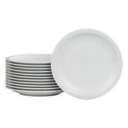 """Set of 12 Boxed 10.5"""" Dinner Plates - Boxed set delivers a dozen clean white plates at a moment's notice. Simple rimmed porcelain serves up a crowd and makes the perfect match with other dinnerware and serving pieces. Packaged in convenient storage box."""