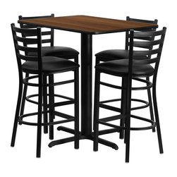 "Flash Furniture - Walnut Table Set with 4 Ladder Back Metal Bar Stools - Black Vinyl Seat - No need to buy in pieces, this complete Bar Height Table and Stool set will save you time and money! This set includes an elegant Walnut Laminate Table Top, X-Base and 4 Metal Ladder Back Bar Stools. Use this setup in Bars, Banquet Halls, Restaurants, Break Room/Cafeteria Settings or any other social gathering. Mix in Bar Height Tables with standard height tables for a more varied seating selection. This Commercial Grade Table Set will last for years to come with its heavy duty construction. Rectangular Table and Metal Restaurant Bar Stool Set; Set Includes 4 Bar Stools, Rectangle Table Top and X-Base; Metal Restaurant Bar Stool; Ladder Style Back; Black Vinyl Upholstered Seat; 2.5"" Thick 1.4 Density Foam Padded Seat; CA117 Fire Retardant Foam; 18 Gauge Steel Frame; Welded Joint Assembly; Two Curved Support Bars; Foot Rest Rung; Black Powder Coated Frame Finish; Plastic Floor Glides; Lightweight Design; Designed for Commercial Use; Suitable for Home Use; Overall Size: 17""W x 18""D x 42.25""H; Seat Size: 16.75""W x 16.5""D x 31""H; Back Size: 15""W x 12""H; Restaurant/Banquet Table Top; 1.125"" Thick Rectangular Top; Overall dimensions: 24""W x 42""D x 42""H"