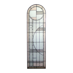 Meyda Tiffany - Meyda Tiffany Left Arc Deco Stained Glass Tiffany Window X-86822 - Charming Art Deco geometric detailing and clean tones allow for versatile style and flair from this Meyda Tiffany stained art glass Tiffany window. This Left Art Deco window is designed to be paired with the coordinating right version, creating an elegant look in bedrooms, foyers, family rooms and more.