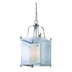 3 Light Chrome Clear Beveled Glass & Matte Opal Inside Glass Foyer Hall Pendant - This medium sized fixtures packs big style modern looks, without loosing any of the delicate tenderness found in traditional lighting. Chrome geometric shapes complimented with clear beveled glass on the outside of the fixture combined with warm glowing matte opal glass on the inside ensures that this style of lighting is truly unique.