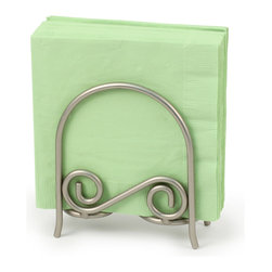 Spectrum Diversified Designs - Scroll Arch Napkin Holder - Satin Nickel - From the Scroll Collection, this arch napkin holder keeps napkins neat, stacked and contained. Made of sturdy steel and a satin nickel finish.