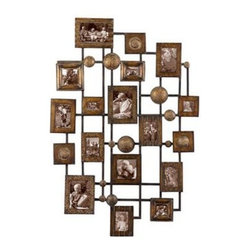 Uttermost - Uttermost 13465 Natane Decorative Metal Wall Art - This collage of photo frames creates an exciting way to display lots of those special photos. Made from hand forged and hand hammered metal, the finish is a heavily distressed maple wash with gold undertones and black dry brushing.