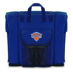 Picnic Time - New York Knicks Stadium Seat in Navy - The Stadium Seat is ideal for anyone who enjoys sporting events, concerts, or other arena activities. This padded seat is made of durable 600D polyester and provides maximum seat support, which is especially useful when sitting on hard bleacher seats or benches. EPE foam in the seat's core also insulates your seat from cold bleachers. A large zippered pocket keeps all of your essentials within reach. Convenient carry straps allows the seat to be carried as a folded tote. You'll want to take the Stadium Seat to every spectator event to ensure your seating comfort.; Decoration: Digital Print