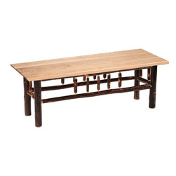 Fireside Lodge Furniture - Hickory 48 in. Log Bench (Rustic Maple) - Finish: Rustic MapleHickory Collection. All Hickory Logs are bark on and kiln dried to a specific moisture content. Clear coat catalyzed lacquer finish for extra durability. 2-Year limited warranty. 48 in. W x 17 in. D x 18 in. H (55 lbs.)