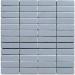 "Stone Center Corp - Thassos White Marble Rectangular Mosaic Tile 1x3 Tumbled - Thassos white marble 1x3"" rectangle pieces mounted on 12"" x 12"" sturdy mesh tile sheet"