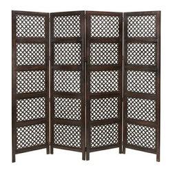 Benzara - Circle By Circle Wood Room Divider 4 Panel - Circle By Circle Wood Room Divider 4 Panel