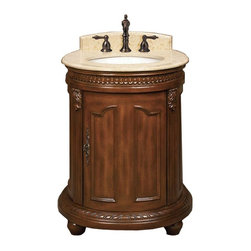World Imports - Belle Foret 25in. W Vanity with Marble Vanity Top, Dark Cherry - Faucet not included