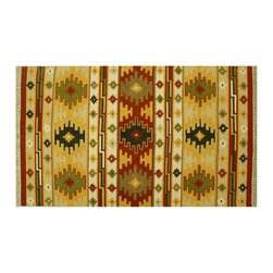 Area Rug, Flat Weave Hand Woven Geometric Design 4X6 Anatolian Kilim Rug SH6428 - Soumaks & Kilims are prominent Flat Woven Rugs.  Flat Woven Rugs are made by weaving wool onto a foundation of cotton warps on the loom.  The unique trait about these thin rugs is that they're reversible.  Pillows and Blankets can be made from Soumas & Kilims.