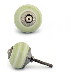 "Knobco - Ceramic Knob, Lime Green and White - Lime green and white cabinet knob with a metal front, perfect for your kitchen and bathroom cabinets! The knob is 1.5"" in diameter and includes screws for installation."