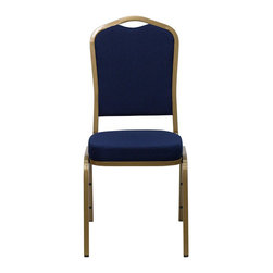 Flash Furniture - Flash Furniture Hercules Series Crown Back Banquet Chair in Navy Blue - Flash Furniture - Stacking Chairs - FDC01ALLGOLD2056GG - This is one tough chair that will withstand the rigors of time. with a frame that will hold in excess of 500 lbs., the Hercules Series Banquet Chair is one of the strongest banquet chairs on the market. You can make use of banquet chairs for many kinds of occasions. This banquet chair can be used in Church, Banquet Halls, Wedding Ceremonies, Training Rooms, Conference Meetings, Hotels, Conventions, Schools and any other gathering for practical seating arrangements. The banquet chair is also great for home usage from small to large gatherings. For any environment that you use a banquet chair it will put your guests at a greater comfort level with the padded seat and back. Another advantage is the stacking capability that allows you to move the chairs out of the way when not in use. with offerings of comfort and durability, you can be assured that you can enjoy this elegant stacking banquet chair for years to come. [FD-C01-ALLGOLD-2056-GG]