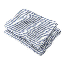 Brahms Mount - USA made Brahms Mount Linen Hand Towel, Pearl/Blue, Hand - Elevate the everyday. Treat yourself to the incomparably smooth hand, durability and super-absorbency of our pure linen bath and kitchen towels. Made in Maine since 1983