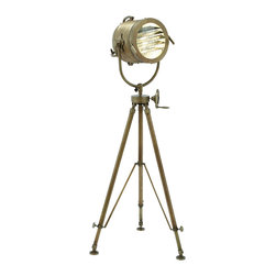 Casa Cortes - Casa Cortes 78-inch Adjustable Aluminum Sea Light Tripod Floor Lamp - Add character and design to any room with this unique floor lamp. A reproduction of a 19th century British marine light used to transmit Morse code,the sea light evokes both grand ocean liners and old Hollywood.