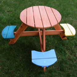 Swing Town 4-Seat Round Kids' Picnic Table - How cute is this table with those unique seats?