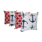 Land of Pillows - Anchors Navy Blue and Gotcha Lipstick Red Nautical Throw Pillow - Set of 4, 16x1 - Fabric Designer - Premier Prints