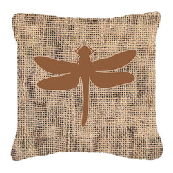 Caroline's Treasures - Dragonfly Burlap and Brown Fabric Decorative Pillow Bb1062 - Indoor or Outdoor Pillow made of a heavyweight Canvas. Has the feel of Sunbrella Fabric. 14 inch x 14 inch 100% Polyester Fabric pillow Sham with pillow form. This pillow is made from our new canvas type fabric can be used Indoor or outdoor. Fade resistant, stain resistant and Machine washable.