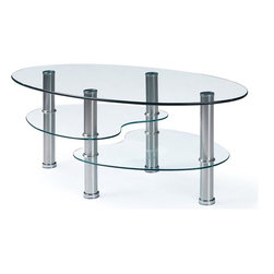 Global Furniture - Coffee Table in Clear - This modern coffee table is finished with chrome hollow tube legs and glass surfaces.