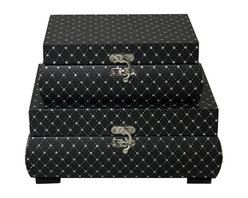 ecWorld - McKenna Jewel Keepsake 2-Piece Decorative Boxes - Black - These stylish leather trunks are both attractive and keep small items organized and protected in our latest McKenna decorative box. Attractive and functional store every day essentials and a wide variety of small items on style.