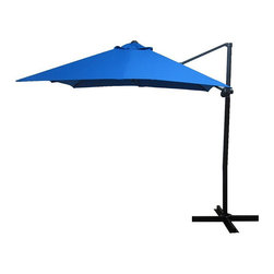 None - Elegant Pacific Blue Square Steel Offset Umbrella - Shade your outdoor living space with this handy, offset umbrella. This elegant, square umbrella is weatherproof and features UV protection to make it last even longer. It has a crank closure system and is made of poly fabric and steel.