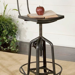 "Vintage Kitchen Stools - Vintage Industrial design bar chair with working height adjusting crank and gears. Black sealed iron with rustic antique stained mango wood. Seat raises from 24"" to 32"" in height."