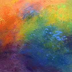 """Rainbow Blue (Original) by Linda Bailey - This bright, colorful, contemporary, abstract painting is highly textured with multiple layers of color including shades of green, red, orange, yellow, purple and many shades of blue. Blue being the dominant color, a variety of shades of rainbow colors make this modern piece a wonderful combination of earth, sky, water, sun and light. This large painting is 40"""" wide, 30"""" high and 1.5"""" deep with a UV-protective satin varnish on the surface. The sides of the painting are painted black. This painting is ready to hang!"""