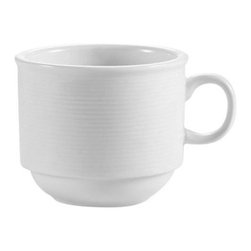 CAC China - Harmony Pattern 7 oz White Stacking Cups - Case of 36 - DescriptionsC.A.C China provides durable dinnerware at all levelsincluding super white porcelain fine bone china American white chinacolored glaze china and Asian style china. C.A.C China offers a variety of innovative shapes from square rectangular triangular wavy to round that will brighten up any tables for modern trendy restaurants hotels resorts clubs caterers cruises etc. All C.A.C China products are oven microwave and dishwasher safe.