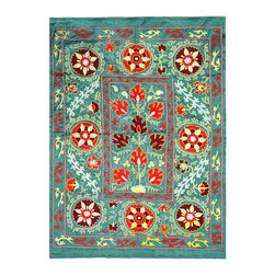 Handmade Modern Suzani L1204 - This new Suzani will spice up your interior decor whether you use it as a wall hanging or a table covering.