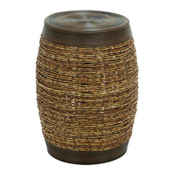 None - Unique Barrel Shape Bamboo Weave Stool - An unique and attractive stool woven into a sturdy bamboo shoot style pattern will be the centerpiece of any room.  This magnificent stool is made into a solid barrel shape with strong polyethylene material that is smooth to the touch.