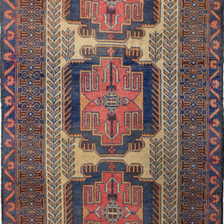 """ALRUG - Handmade Navy Blue Oriental Tribal Baluchi Rug 3' 4"""" x 5' 10"""" (ft) - This Afghan Baluchi design rug is hand-knotted with Wool on Wool."""