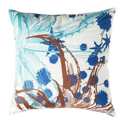 """Koko Company - Cactus Pillow, Teal and Blue, 18"""" x 18"""" - Inspired by Southwestern flora with embroidery and screen printed graphic."""