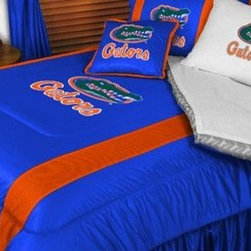 Sports Coverage - Florida Gators NCAA Bedding - Sidelines Comforter and Sheet Set Combo - Twin - This is a great Florida Gators NCAA Bedding Comforter and Sheet set combination! Buy this Microfiber Sheet set with the Comforter and save off our already discounted prices. Show your team spirit with this great looking officially licensed Comforter which comes in new design with sidelines. This comforter is made from 100% Polyester Jersey Mesh - just like what the players wear. The fill is 100% Polyester batting for warmth and comfort. Authentic team colors and logo screen printed in the center. Microfiber Sheet Set have an ultra-fine peach weave that is softer and more comfortable than cotton! This Micro Fiber Sheet Set includes one flat sheet, one fitted sheet and a pillow case. Its brushed silk-like embrace provides good insulation and warmth, yet is breathable. It is wrinkle-resistant, stain-resistant, washes beautifully, and dries quickly. The pillowcase only has a white-on-white print and the officially licensed team name and logo printed in team colors. Made from 92 gsm microfiber for extra stability and soothing texture. Sheet Sets are plain white in color with no team logo.   Includes:  -  Flat Sheet - Twin 66 x 96, Full 81 x 96, Queen 90 x 102.,    - Fitted Sheet - Twin 39 x 75, Full 54 x 75, Queen 60 X 80,    -  Pillow case Standard - 21 x 30,    - Comforter - Twin 66 x 86, Full/Queen 86 x 86,