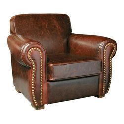 EuroLux Home - New Winston Leather Arm Chair Brown Leather - Product Details