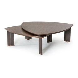 VIG Furniture - Modrest Katydid Modern Walnut Coffee Table - Talk about functionality! The Katydid coffee table can be used as one or two coffee tables. The top layer can swivel 360 degrees to create a tiered design which creates more usable space for you and your guests. Once your guests have left, rotate the top layer back onto the bottom later to save space. Brown leather legs with white stitching add yet another interesting appeal to the coffee table. The Katydid coffee table would be the perfect addition to any small home!