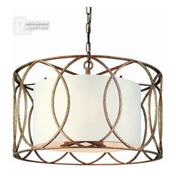 Troy Lighting - Troy Lighting Sausalito Transitional Foyer Light X-GS5821F - This Troy Lighting pendant light has a linen shade and is finished in a beautiful silver gold. Perfect for foyer lighting, this transitional style pendant can bring charm into any home.