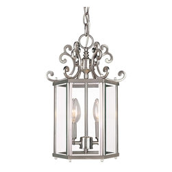 Savoy House - Spirit Foyer - With it's abundant curls and smooth, clean classic lines the Spirit collection is definitely and eye pleaser. The pewter finish and clear beveled glass finish off the collection with a classic yet stylish look.