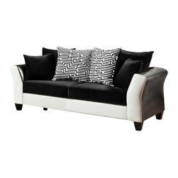 Chelsea Home Furniture - Chelsea Home Tau Sofa in Jefferson Black - Avanti White - Tau sofa in Jefferson black - Avanti White belongs to the Chelsea Home Furniture collection